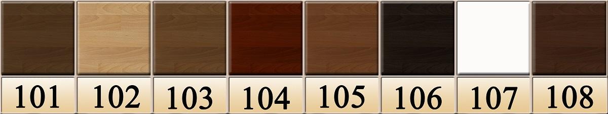 101- темний горіх 102- бук натуральний 103- світлий горіх 104- червоне дерево 105- вільха 106- венге 107- білий акрил 108- каштан